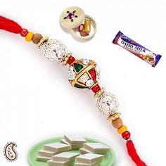 Wooden Beads American Diamonds and Enamel Rakhi Rakhi Design, Festivals Of India, Raksha Bandhan, Wooden Beads, Appreciation, Diamonds, Enamel, Drop Earrings, American