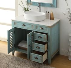 Chans Furniture Benton Abbeville 36 Freestanding Single Bowl Vessel Sink Bathroom Vanity in Distressed Teal Blue Distressed Furniture Abbeville Bathroom Benton Blue Bowl Chans Distressed Freestanding Furniture Single Sink Teal Vanity Vessel Diy Bathroom Vanity, Vessel Sink Bathroom, Bathroom Layout, Bathroom Styling, Bathroom Interior Design, Bathroom Furniture, Bathroom Ideas, Remodel Bathroom, Bathroom Cabinets