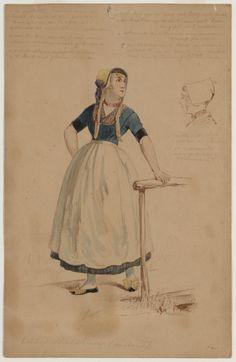 Vrouw in dracht van Walcheren Eiland Walcheren (Zeeland) 1850-1906 kunstenaar: Linse, Hendrik Jan Carel #Zeeland #Walcheren