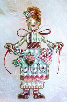 cross stitch kit pattern Pinky The Peppermint by thecottageneedle