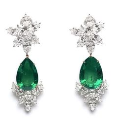 Emerald, Diamond and 18K White Gold Earrings