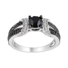 Sterling Silver 1 Carat T.W. Black & White Diamond Wedding Ring, Women's, Size: 5