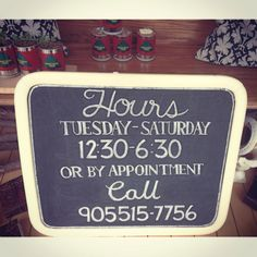 Shop Hours Sign by Dayna Vago Designs Chalkboard Signs, Chalk Board, Shop, Design, Slate, Design Comics, Store, Chalkboards