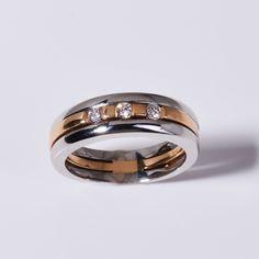 Ring in 18kt Weiss- und Rotgold mit Brillanten