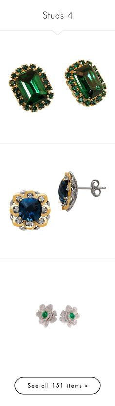 """""""Studs 4"""" by thesassystewart on Polyvore featuring jewelry, earrings, clip earrings, rectangle earrings, emerald green jewelry, clip-on earrings, green jewellery, blue, gold diamond earrings and sterling silver diamond earrings"""