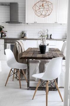Amazing Scandinavian Living Room Ideas For Sweet Home Design 41014 Appartement Design, Scandinavian Living, Farmhouse Kitchen Decor, Rustic Farmhouse, Kitchen Interior, Room Interior, My Living Room, Dining Room Table, Kitchen Tables