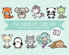 Premium Vector Clipart - Full Collection of Cute Clipart Characters - Kawaii Clipart - Instant Download - Kawaii Clipart
