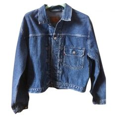 Blue Denim Jeans Jacket LEVI'S VINTAGE CLOTHING (€65) ❤ liked on Polyvore featuring outerwear, jackets, coats & jackets, tops, blue jackets and levi jacket