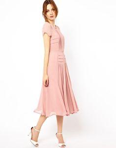 Warehouse   Warehouse Pleated Skirt & Bodice Midi Dress at ASOS