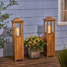 Claudine Standing Acacia Wood Candle Laterns Teak - Christopher Knight Home, Brown Outdoor Candle Lanterns, Metal Lanterns, Votive Candles, Outdoor Lighting, Outdoor Decor, Indoor Outdoor, Crystal Chandelier Lighting, Hurricane Lamps, Candle Stand