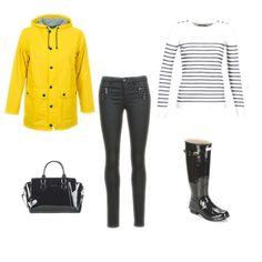 Tenue idéale pour l'inter saison, à l'approche de la rentrée : ciré jaune, marinière Petit bateau, bottes de pluie Hunter. #fashion #outfit
