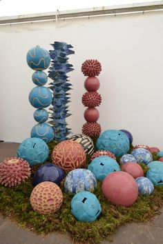 Inspired by fungi and coral forms, Fusion is an outdoor ceramic sculpture that has appeared at multiple exhibitions throughout Ireland.  Each column consis