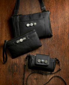 Gingersnaps black leather handbags & wristlet - Many styles available