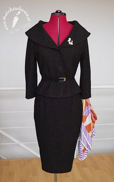 Jacket with a shawl collar and skirt with pleats: made by me Patterns: Burda 12/2005, #112 (top), Burda 12/2012, #108 (bottom)  Leather belt: Biedronka Poodle: vintage (60s) Scarf: Rags&Silks
