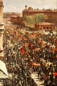 Isaak Izrailevitsj Brodskij - Demonstratie, 1930, Demonstratie op de Prospekt van de 25e oktober in Leningrad. (Sovjet Mythe Assen)