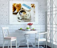 Canvas print Good Morning Coffee Tea Cup Croissant Breakfast Good Morning Impressionism Large Oversized Coffee White Wall Art Good Morning