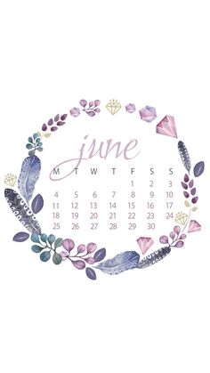 June 2018 iPhone Floral Calendar Wallpapers