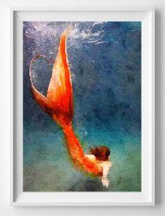 Mermaid art printwatercolorpaintingwall por HopSkipPaint en Etsy
