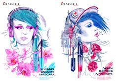 Two urban, editorial illustrations created to advertise Rimmel London products.