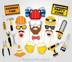 Construction Printable Photo Booth Props - Construction Photo Booth Props - Road Works Photo Booth Props - Construction Photo Booth Props par RainbowMonkeyArt sur Etsy https://www.etsy.com/ca-fr/listing/290638317/construction-printable-photo-booth-props