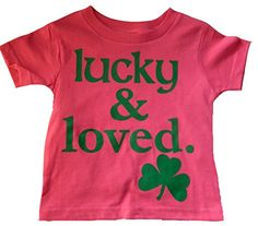 dfe2b83c0 Custom Kingdom Little Girls Lucky and Loved Irish Shamrock T-shirt Pink  cotton Machine washable Printed in the usa Perfect oufit for St. Patricks  Day Great ...