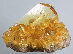 Gypsum var. Selenite on Halite / Las Salinas, Otuma Mine, Peru