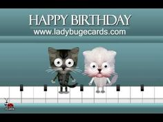 Happy Birthday Dancing Cats on a Piano Ecard by LadyBug