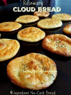 The Best No-Carb Cloud Bread with Only 4 Ingredients. This Cloud Bread is soft, airy, fluffy and practically melts in your mouth. It is a delicious home-made bread replacement that is practically carb-free, gluten-free and high in protein. No Carb Recipes, Diabetic Recipes, Gluten Free Recipes, Cooking Recipes, Healthy Recipes, Bariatric Recipes, Bread Recipes, Diet Recipes, Atkins Recipes