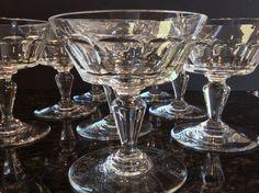 Set 8 Baccarat BRETAGNE Martini Champagne Wine Goblets Vintage Cut Crystal