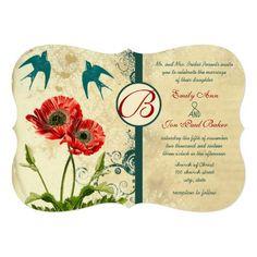 Vintage Birds Damask Poppy Wedding Invitation