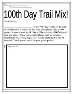 Free download of 100th Day of School Trail Mix Letter to send home. If you'd like to have more control over the trail mix and avoid allergens, create a free sign up with SignUpGenius.com #100thDayofSchool #Activity If you