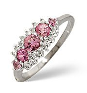 The Diamond Store.co.uk Pink Sapphire and 0.12CT Diamond Ring 9K White Gold Pink Sapphire amp