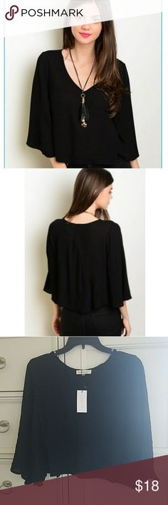 Beautiful Boho Crop Top Gorgeous Black Flowy Top, Flutter Sleeves, V-neck Line, Soft Stretchy Fabric, Great With Denim, Shorts or Leggings, Must Have Little Black Top  XS- Armpit to Armpit is 18 Inches, 36 Around, 15 inches Long Measured in Back Small- Armpit to Armpit is 19 Inches, 38 Around, Length is 15.5 Inches Measured in Back Medium- Armpit to Armpit is 20 Inches, 40 Around, 16 Inches Long, Measured in Back  100% Rayon Sugar + Lips Tops Blouses