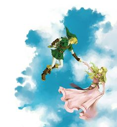 Link and Zelda In the Sky