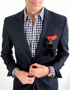 navy suit gingham shirt - Google Search - vielleicht eine Inspiration für Ihren nächsten Traumanzug / Ihr nächstes Traumsakko? Mehr unter www.jk-masskonfektion.de - der Maßkonfektionär mit Heimservice in Baden