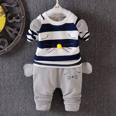 >> Click to Buy << 2016 new baby boys girls striped suit autumn clothing 100% cotton T-shirt + pants 3pcs/sets of children free shipping boys brand #Affiliate
