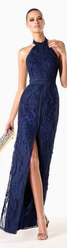 Pronovias 2014. women's fashion and runway style. gowns. navy embroidered halter gown. formal wear