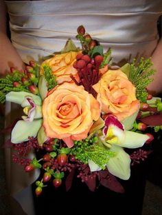 gold and burgundy wedding bouquets | Fall Brown Burgundy Gold Green Orange Bouquet Wedding Flowers Photos ...