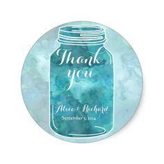 Watercolor mason jar wedding favor stickers round sticker
