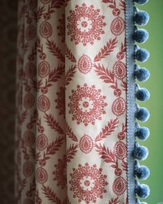 Cottage Curtains, Drapes Curtains, Drapery, Window Coverings, Window Treatments, Green Ottoman, Cosy Home, Curtain Fabric, Fabric Blinds
