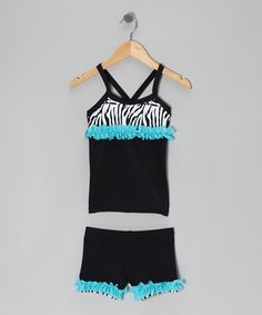 Take a look at this Black & Aqua Zebra Tank & Shorts - Toddler & Girls by All About Gymnastics: During Practice on @zulily today!