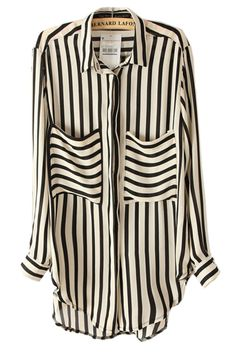 Striped Curved Hemline Loose Blouse - OASAP.com