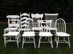 Farmhouse Chairs Set of 6 Dining Chairs White by ThePaintedLdy, $954.00