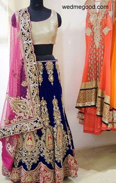 Liz Paul Info & Review | Bridal / Trousseau Designers in Delhi | Wedmegood - Beautiful navy and fuschia