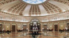 Huge marble foyer under a distinctive dome ceiling Beautiful Architecture, Beautiful Buildings, Beautiful Places, Hotels And Resorts, Best Hotels, Luxury Life, Luxury Homes, Marble Foyer, Riyadh Saudi Arabia
