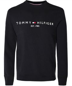 Shop Tommy Hilfiger Crew Neck Logo Sweatshirt Colour: Black from stores. Tommy Hilfiger Sweatshirt Mens, Polos Tommy Hilfiger, Tommy Hilfiger Outfit, Tommy Hilfiger Clothing, Hype Clothing, Mens Clothing Styles, Sueter Tommy Hilfiger, Mens Sweat Suits, Camisa Nike