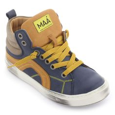 Navy blue leather trainers with laces - 98494