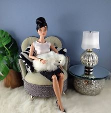 OOAK Silver Crackle Finished Lamp 4 FR, Barbie, Silkstone, Poppy Parker Display