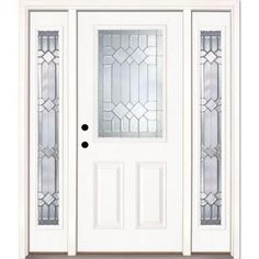 Feather River Doors Mission Pointe Zinc 1/2 Lite Unfinished Smooth Fiberglass Prehung Front Door with Sidelites-882191-3B4 - The Home Depot