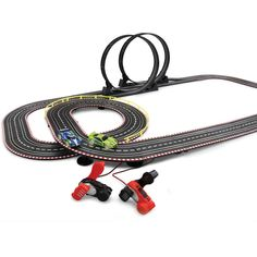 Special Value: The Dynamo Powered Slot Car Set - Hammacher Schlemmer - No electricity required, only the cranking of a dynamo to power a car around its two-lane track. The faster the crank, the faster the car goes.